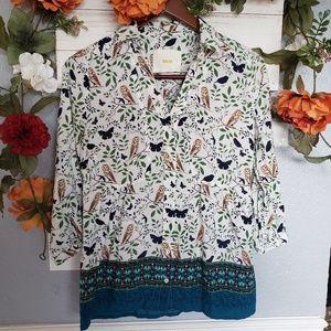 Anthropologie Maeve owl woodland blouse 6